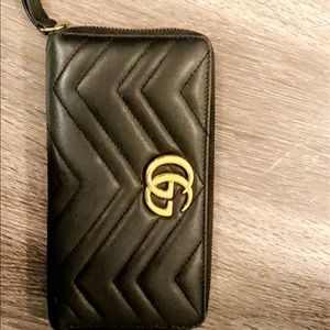 Gucci Quilted Chevron Long ZIP-Around Wallet